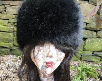 Posh Black Luxury Faux Fur Hat with Polar Fleece Lining-Fake Fur Hat- Black Fur Hat- Black Fur- Russian Hat- Pill Box Hat