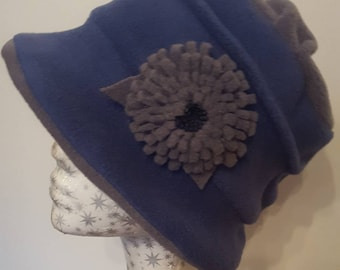 Handmade Blue and Grey Fleece Hat with Pleated Top & Flower Detail. Fully Fleece Lined.