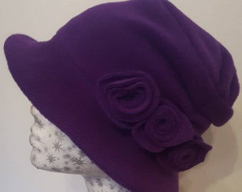 Pleated Top Fleece Hat with Fleece Lining and Flower Trim