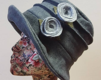 Stunning Mid Grey Felted Wool Flower Hat with Cosy Fleece Lining