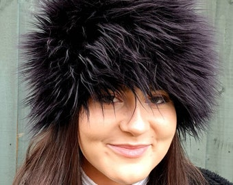 Faux Mongolian Sheep Fur Hat-Black Hat-Polar Fleece Lining-Women's Winter Hat