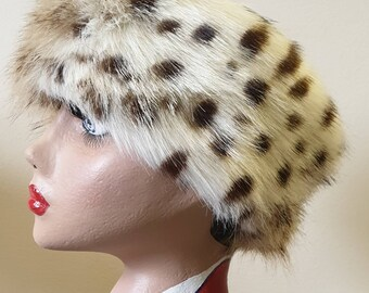 Lovely Ocelot Luxury Faux Fur Headband / Neckwarmer / Earwarmer Handmade in Lancashire England