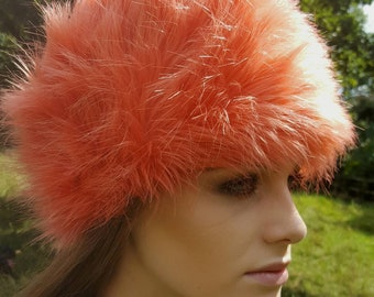Super Fluffy Tangerine Faux Fur Hat