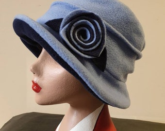 Light Blue and Navy  Fleece Hat-Polar Fleece Lining-Downton Abbey Hat-Womens Fleece Hat-Womens Fleece Winter Hat-1930's-Ladies Winter Hat