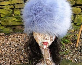 Beautiful Cornflower Blue Faux Fur Hat with Cosy Polar Fleece Lining-Fur Hat-Fake Fur Hat-Winter Hat-Long Fur Hat-Cossack Hat-Blue Fur Hat