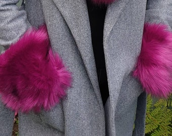 Luxury Faux Fur Cuffs in Magenta- Faux Suede Lining- Elasticated-Fur Cuffs-Wrist Cuffs-Faux Fur Cuffs-Fluffy Cuffs-Mink Cuffs-Fox Cuffs