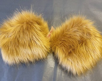 GoldenMustard Luxury Faux Fur Cuffs- Faux Suede Lining and Elasticated at One End-Faux Fur Cuffs-Fluffy Cuffs-Gold cuffs- Gold fur