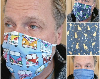 Reversible 3 Layer Cotton Face Mask-Face covering-Tie behind ears or back of head-Camper Van-Parrots-Cats-Denim Blue-Dust Mask-Allergy Mask