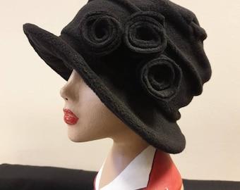 Cosy Black Fleece Hat with Pleated Top-Fully Fleece Lined-Downton Abbey Hat-Womens Fleece Hat-Womens Fleece Winter Hat-Ladies Winter Hat