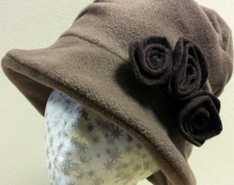 Handmade Fudge Fleece Hat With Cosy Fleece Lining-Downton Abbey Hat-Womens Fleece Hat-Womens Fleece Winter Hat-Ladies Winter Hat-Cloche Hat