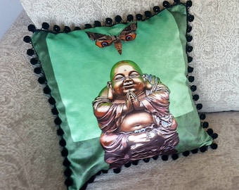 Bronze Buddha Print Cushion/Cushion Cover on 100% Cotton Shimmer Velvet. 45cm x 45cm. Printed from original artwork.