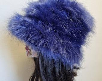 Purple Blue Fuzzy Bucket Hat-Festival Hat-Floppy Hat-Fur Hat-Fake Fur Hat-Rave Hat-Purple Bucket Hat-Blue Fur Hat-vegan friendly hat