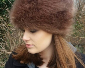 Long Camel Faux Fur Vintage Style Russian Pill Box Style Hat