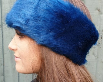 Sapphire Blue Luxury Faux Fur Headband / Neckwarmer / Earwarmer Handmade in Lancashire England