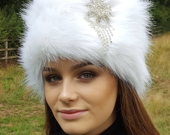 Bling Hat! Long White Faux Fur With Furry or Faux Suede Crown
