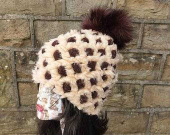 Patterned Slouchy Hat with Large Fluffy Pom Pom. Fully lined with Polar Fleece-Pom pom hat-fleece hat-wintwr fleece hat-brown fur