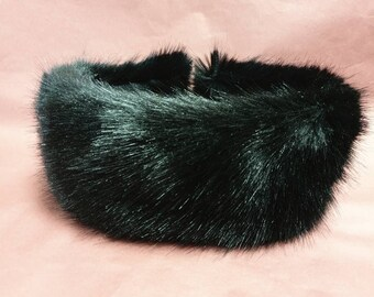 Posh Black Luxury Faux Fur Headband- Neckwarmer-Earwarmer-Black Fur-Fake Fur Headband-Black Headband