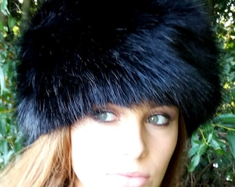 Lovely Long Black Luxury Faux Fur Hat with Polar Fleece Lining