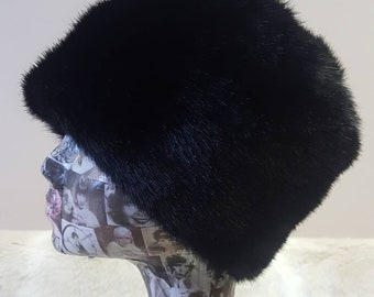 Silky Smooth Faux Fur Hat in Black with Cosy Polar Fleece Lining