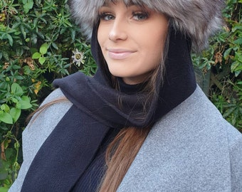 Frieda Scarf Hat. Faux Fur Hat with Fleece Top and Long Fleece Sides. Super Wolf Fur with Full Polar Fleece Lining
