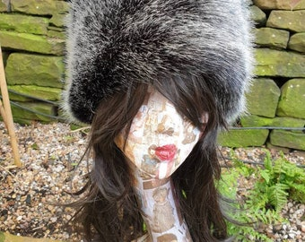 Posh Black Silver Luxury Faux Fur Hat with Polar Fleece Lining-Fake Fur Hat- Black Fur Hat- Black Fur- Russian Hat- Pill Box Hat