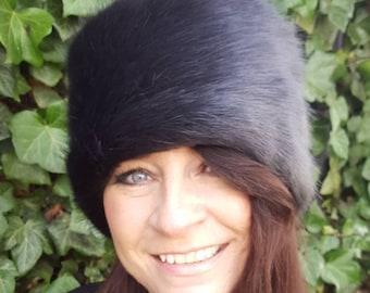 Super Luxury Dark Grey Faux Fur Hat with Option to add a brooch
