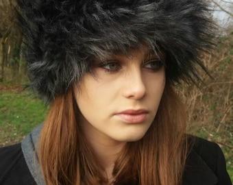 Black Wolf Faux Fur Russian Style Hat-Polar Fleece Lined-Fur Hat-Fake Fur Hat-Winter Hat-Long Fur Hat-Cossack Hat-Black Fur Hat-Grey Fur Hat