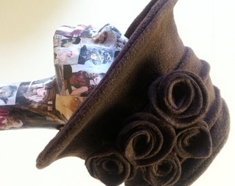 Wide Brim Handmade Chocolate Brown Fleece Hat With Cosy Fleece Lining and Handmade Flowers