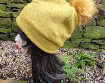 Mustard Wool Blend Slouchy Hat with Large Mustard Pom Pom. Fully lined with Polar Fleece