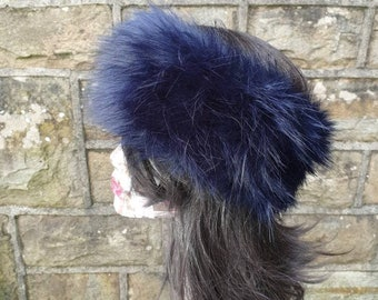 Midnight Blue Faux Fur Headband- Neckwarmer - Earwarmer-Handmade in Lancashire England-Navy Fur- Blue Fur - Fur Headband-Blue Fur Headband