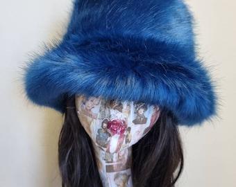 Stunning Super Luxury  Faux Fur Bucket Hat-Deep Blue-Fuzzy Bucket Hat-Festival Hat-Floppy Hat-Fur Hat-Fake Fur Hat-Rave Hat-Blue Bucket Hat