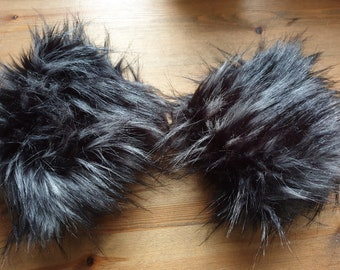Black Wolf Luxury Faux Fur Cuffs- Faux Suede Lining- Elasticated One End-Wrist Cuffs-Faux Fur Cuffs-Fluffy Cuffs- Fur Cuffs-Jacket Cuffs