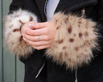 A Pair of Beautiful Luxury Faux Fur Cuffs in Cheetah- Faux Suede Lining and Elasticated at One End-Faux Fur Cuffs-Fluffy Cuffs-Animal Print