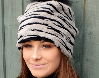 Grey Tiger Thick Fleece Slouchy Hat with Large Black Pom Pom. Fully lined with Polar Fleece