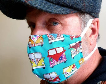 3 Layer Cotton Face Mask with Filter Pocket-Tie behind ears or back of head-Camper Van-Camper Van Print-Cotton Facemask