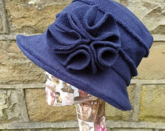 Cosy Navy Blue Fleece Hat-Fully Fleece Lined-Downton Abbey Hat-Womens Fleece Hat-Womens Fleece Winter Hat-Ladies Winter Hat
