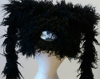 Shaggy Black Marshmallow Hat