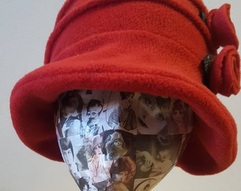 Flower Trimed Red Fleece Hat-Polar Fleece Lining-Downton Abbey Hat-Womens Fleece Hat-Womens Fleece Winter Hat-1930's-Ladies Winter Hat