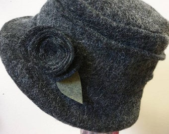 Fully Polar Fleece Lined Dark Grey Wool Hat-Cloche Hat- Wool Hat-Downton Abbey Hat-1930's-Womens Winter Hat-Womens Felt Hat-Flapper Hat-