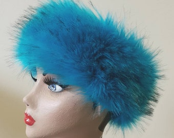 Kingfisher Blue Luxury Faux Fur Headband / Neckwarmer / Earwarmer Handmade in Lancashire England