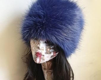 Vibrant Purple/Blue Faux Fur Russian Style with Cosy Polar Fleece Lining-Fur Hat-Fake Fur Hat-Winter Hat-Long Fur Hat-Cossack Hat-Purple Fur