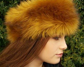 Golden Mustard Faux Fur Headband / Neckwarmer / Earwarmer Handmade in Lancashire England