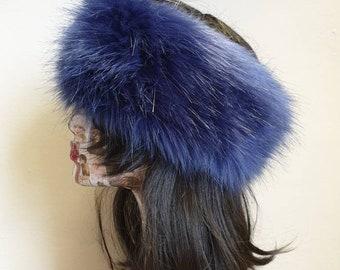 Long Dark Lilac Faux Fur Headband-Neckwarmer-Earwarmer-Head Wrap-Fur Head Wrap-Handmade in Lancashire England