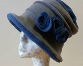 Gray and Denim Blue Fleece Hat-Downton Abbey Hat-Womens Fleece Hat-Womens Fleece Winter Hat-1930's-Vintage Style Hat-Ladies Winter Hat