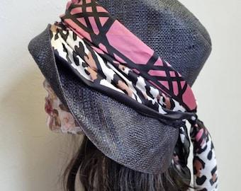 Black Raffia Cloche 20's Style Sun Hat-Pink and Leopard Print Scarf Trim-Black Sun Hat- Straw Hat-Raffia Sun Hat-