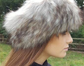 Super Wolf Faux Fur Headband / Neckwarmer / Earwarmer Handmade in Lancashire England