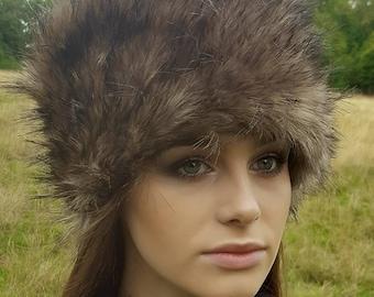 Coyote Faux Fur Hat with Cosy Polar Fleece Lining-Fur Hat-Fake Fur Hat-Winter Hat-Long Fur Hat-Cossack Hat-Brown Fur-Cream Fur Hat