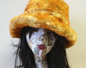Orange Faux Fur Bucket Hat-Festival Hat-Floppy Hat-Fur Hat-Fake Fur Hat-Rave Hat