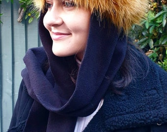 Frieda Scarf Hat in Gold. Faux Fur Hat with Fleece Top and Long Fleece Sides. Full Polar Fleece Lining