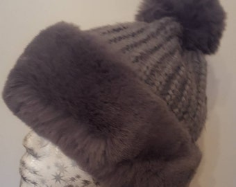 Supersoft Faux Fur Pom Pom Hat with Furry Lining in Grey or Black
